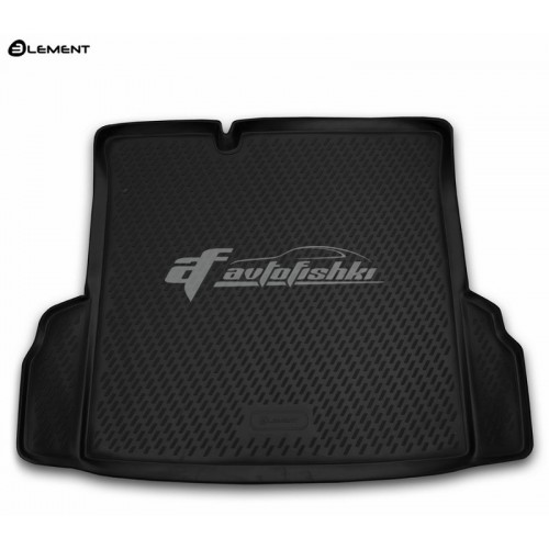 на фотографии резиновый коврик в багажник для Chevrolet Cobalt с 2013 года в кузове седан черного цвета от Novline