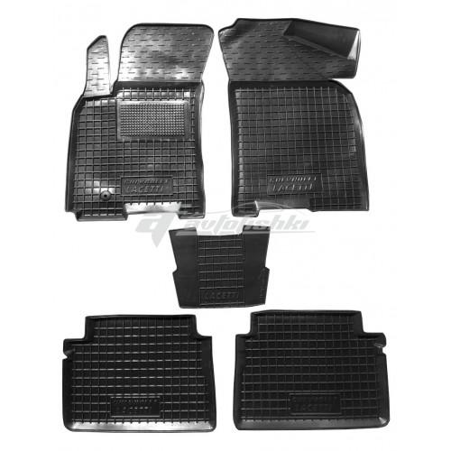 на фотографии резиновые коврики в салон для Chevrolet Lacetti с 2003 года черного цвета от Avto-Gumm