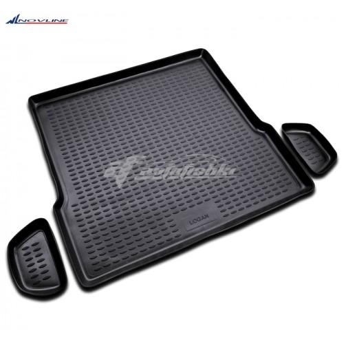 на фотографии резиновый коврик в багажник для Dacia Logan Sedan 2004-2013 года первого поколения в кузове седан черного цвета от Novline