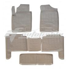 Резиновые коврики в салон на Infiniti QX56 / QX80 (3 ряда) (бежевые) 2010-... Novline (Element)