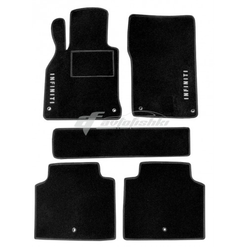 на фотографии ворсовые коврики в салон для Infiniti Q70 с 2014 года черного цвета