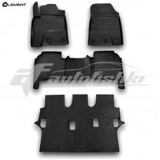 Резиновые коврики в салон на Lexus LX570 (3 ряда) 2007-2012 Novline (Element)