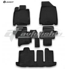 Резиновые коврики в салон на Nissan Pathfinder IV (3 ряда) 2014-2021 Novline (Element)