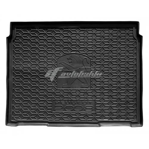 на фотографии резиновый коврик в багажник для peugeot 2008 второго поколения с 2020 года от avto-gumm