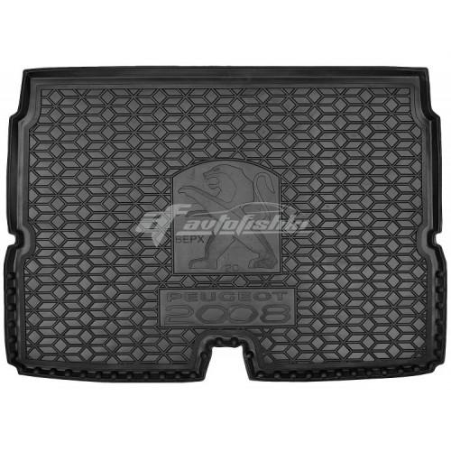 на фотографии резиновый коврик в багажник для peugeot 2008 второго поколения верхний с 2020 года от avto-gumm