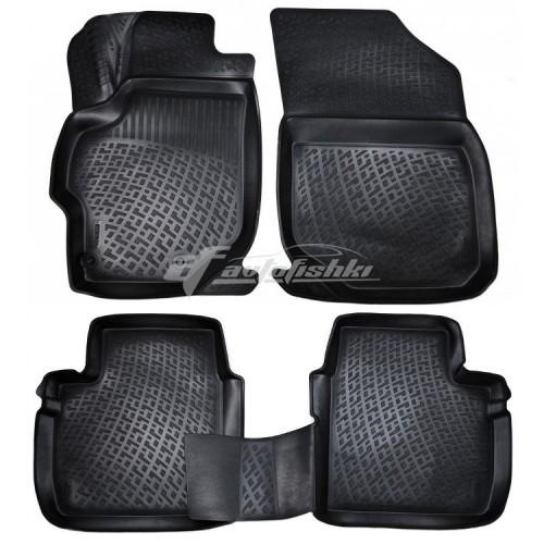 на фотографии резиновые коврики в салон для Peugeot 301 с 2012 года черного цвета от российского производителя Lada Locker
