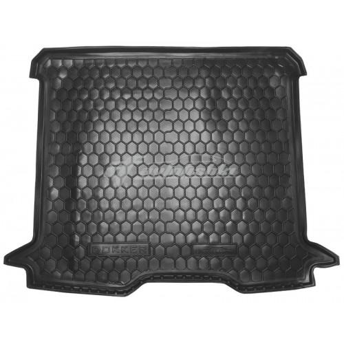 на фотографии резино-пластиковый коврик в багажник для Renault Dokker с 2012 года черного цвета от Avto-Gumm