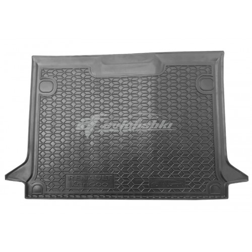 на фотографии резино-пластиковый коврик в багажник Renault Kangoo короткая база с 2010 года черного цвета от Avto-Gumm
