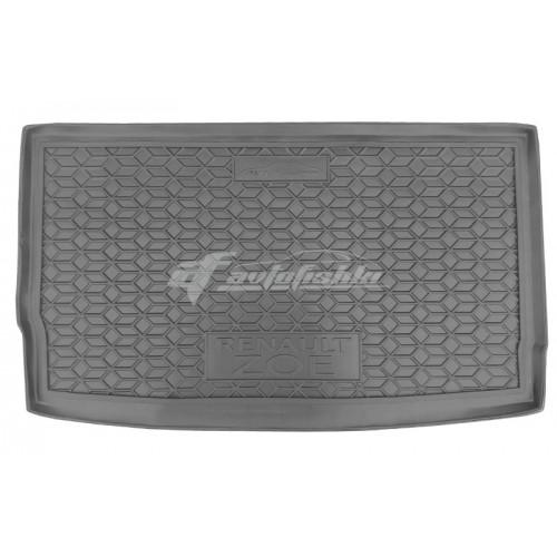 На фотографии резиновый коврик в багажник для Renault Zoe Electric с 2012 года черного цвета от Avto-Gumm