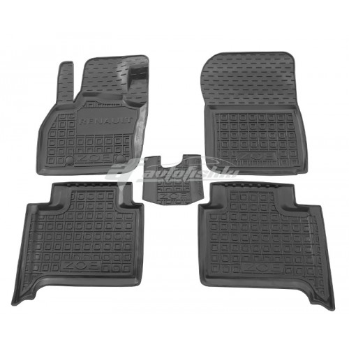На фотографии резиновые коврики в салон Renault Zoe Electric с 2012 года черного цвета от Avto-Gumm