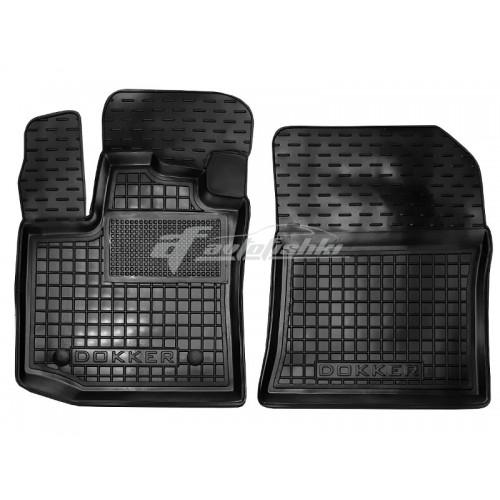 на фотографии резиновые передние коврики в салон для Renault Dokker с 2012 года черного цвета от Avto-Gumm