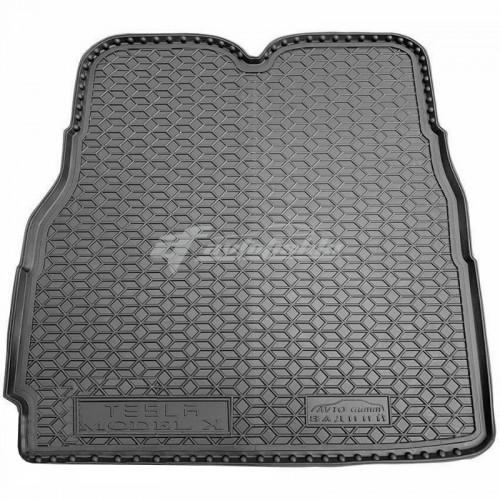 на фотографии резиновый коврик в багажник для Tesla Model X для заднего ряда длинный с 2016 года черного цвета от украинского производителя Avto-Gumm
