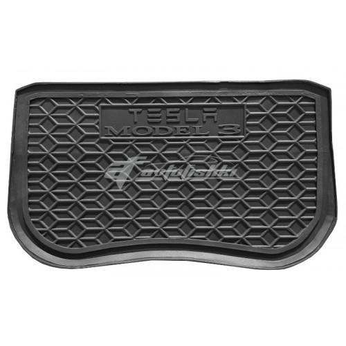 на фотографии резиновый коврик в багажник для Tesla Model 3 передний с 2017 года черного цвета от Avto-Gumm