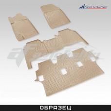 Резиновые коврики в салон на Infiniti QX56 2004-2010 (3 ряда) (бежевые) Novline (Element)