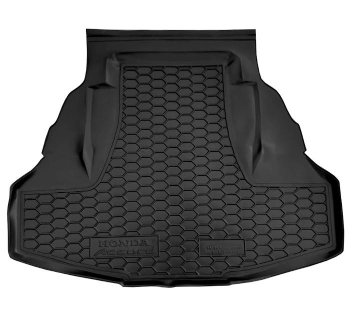 На фотографии резиновый коврик в багажник для Honda Accord с 2008 года черного цвета от avto-gumm