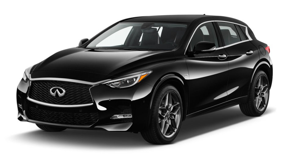 На фото вид спереди слева на автомобиль Infiniti QX30 черного цвета