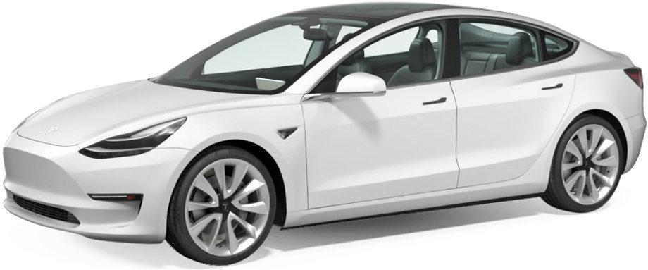На фото вид спереди слева на автомобиль Tesla Model 3 белого цвета