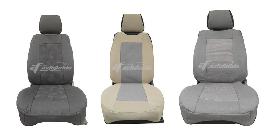 на фотографии три автомобильных сидения на которые одеты майки чехлы черного, бежевого и серого цвета