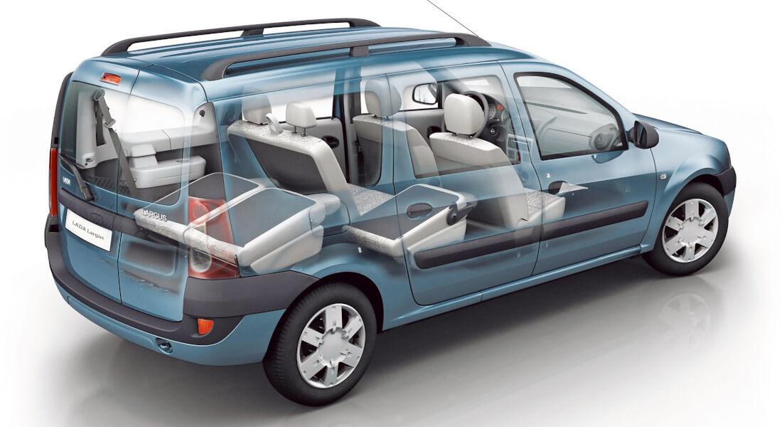 На фото семейный автомобиль Лада Ларгус. Автомобиль показан в разрезе, четко видно внутреннее пространство. Внутри 7 мест, 3 задних сидения в сложеном состоянии