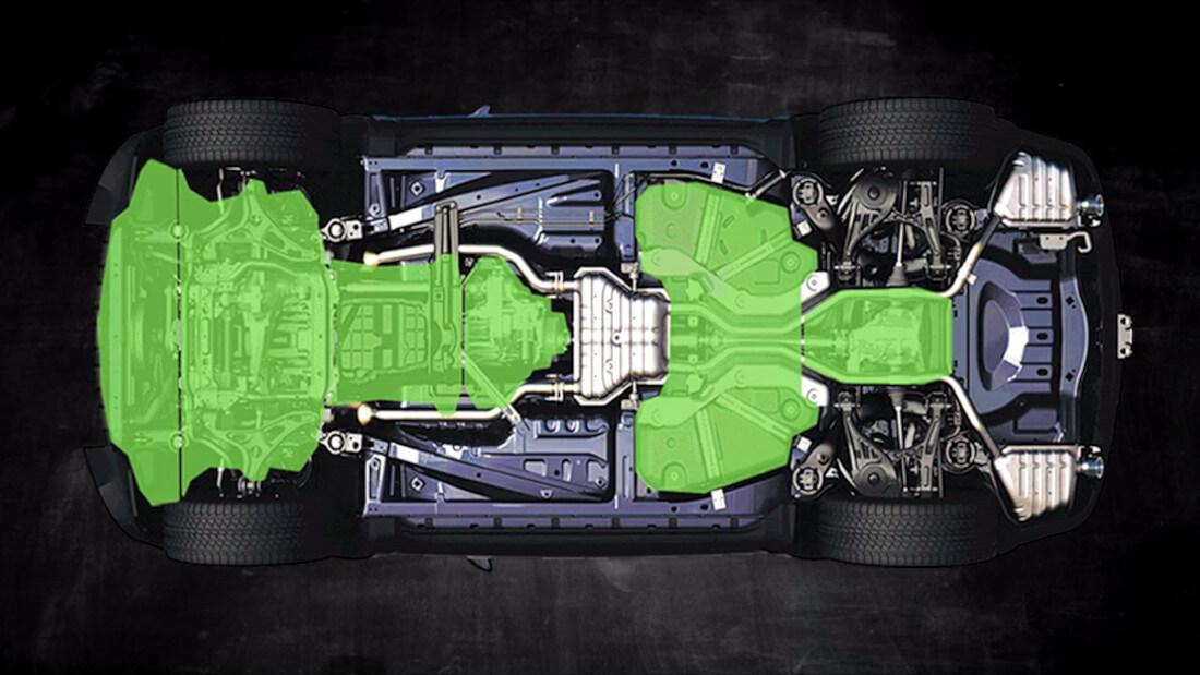 На фото вид автомобиля со стороны днища. Зеленым цветом выделены места, где можно добавить защиту