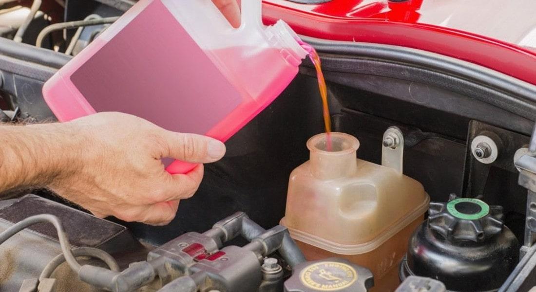 На фото замена антифриза. Водитель из канистры наливает розовую жидкость в бак